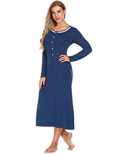 Ekouaer Womens Long Sleeve Sleepwear Nightgown Lace Trim Button Up Slip Dress