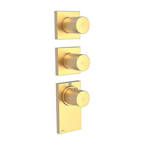 Thermostatique encastrable Block System, 4 voies, corps encastré thermostatique inclus, volant, 5 x 7,4 x 33 cm, couleur or mat (référence : 20635499OM)