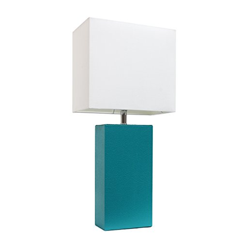 Elegant Designs LT1025-TEL Modern Leather White Fabric Shade Table Lamp, 3.85