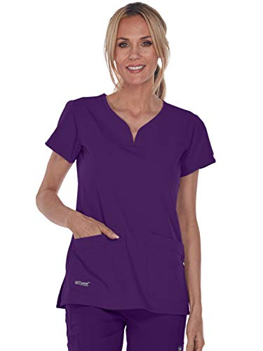 Grey's Anatomy Signature 2121 Notch Neck Top Plush Purple M