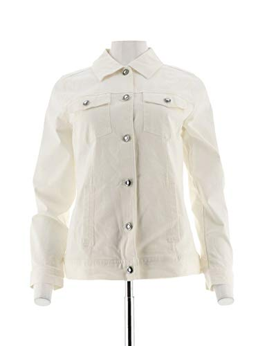 Denim & Co Stretch Twill Jean Jacket Bling Buttons Pockets White L New A199936