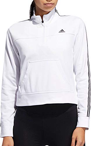 adidas Women's Changeover Half Zip Cotton Sweatshirt Soft French Terry Pullover for Gym (White/Large) ()
