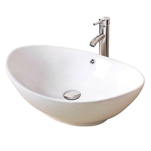 Sliverylake Bathroom Ellipse Porcelain Vessel Sink White Ceramic Sink Basin & Chrome Drain Faucet Combo
