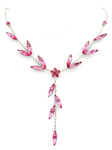 Earrings Necklace Floral Crystal (Faship Gorgeous Pink Crystal Floral Necklace Earrings Set)