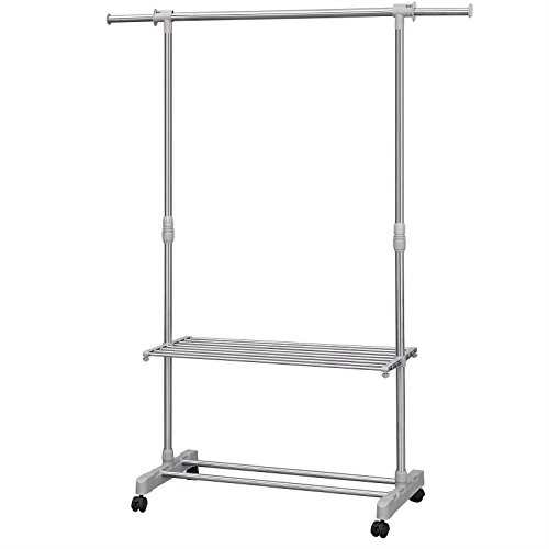 SONGMICS Adjustable Garment Rack Rolling Clothes Rack w'2 Shelves ULLR712