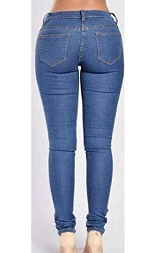 Trousers Con Grazioso Outdoor Damigella Vita Donna Modern Blu Scuro Giovane High Pantaloni Jeans Waist Alta Monocromo Eleganti Moda Lunga Jeggings Pants Stile Primaverile Estivi Tasche Strappati pqwXY