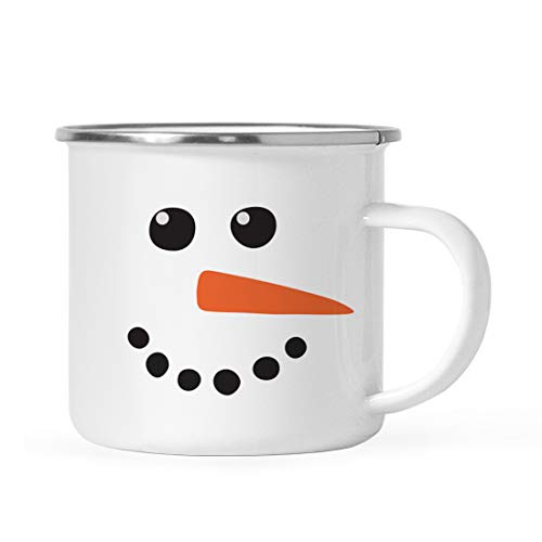 Andaz Press 11oz. Kids Christmas Hot Chocolate Stainless Steel Campfire Coffee Mug Gift, Snowman with Carrot Nose, 1-Pack, Enamel Metal Camp Cup for Him Her, Includes Gift Box