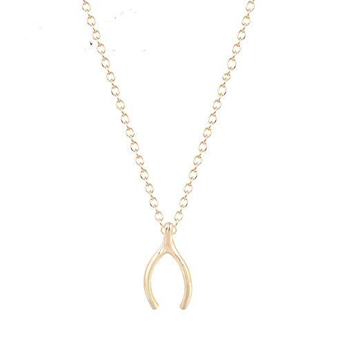 Tiny Gold Wish Bone Necklace -Gold Plated Pendant and Chain - Delicate Everyday Jewelry