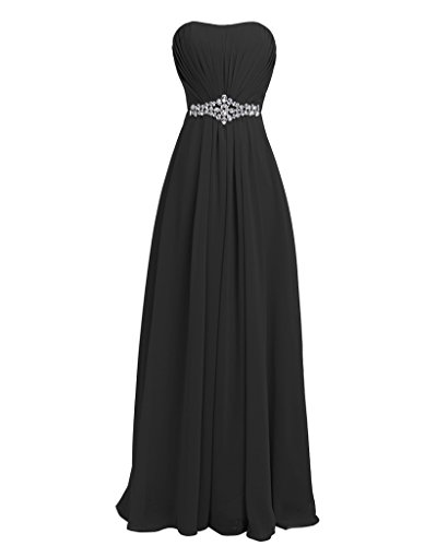 FAIRY COUPLE Women's Strapless Rhinestone Bridesmaid Evening Formal Dresses D004 US8 Black