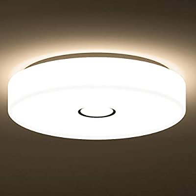 Onforu 18W Plafonnier Salle de Bain LED, IP65 Étanche, 1600LM, 90+Ra, 2700K  Blanc Chaud, Ø28 CM Plafonnier Rond, Lampe de Plafond pour Chambre, ...