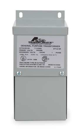 Acme Electric T253012S Low Voltage Distribution Transformer, Single Phase, 240 x 480 Primary Volts - 120/240 Secondary Volts, 2 kVA