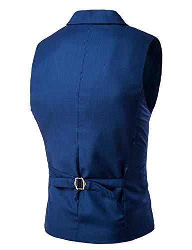 Abito Vestibilità Taglie V Doppio Petto A Vest Con Blau Uomo Lavoro Fit Comode Da Abiti Scollo Slim T6rfAwT