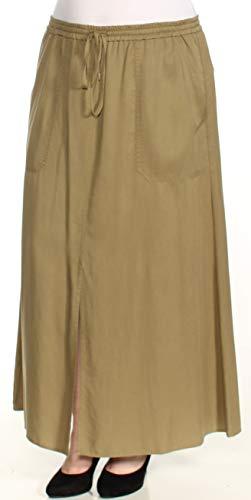(LAUREN RALPH LAUREN Womens Karlon Cargo Twill Maxi Skirt Green XL )