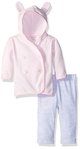 (Rene Rofe Baby Girls' 2 Piece Hooded Cardigan Set with Legging, Bunny Ears Pink, 0-3 Months)