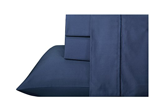 Organic Cotton Certified Cover (300 Thread Count 100 % Organic cotton GOTS Certified, Luxury Bedding, soft organic cotton sheet sets, Solid Sateen Weave , 4 Piece Sheet Set marrow stitch Tailored (Full, Navy Blue))