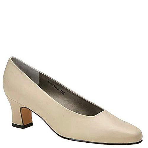 (Mark Lemp Classics Womens Vicki Leather Round Toe Classic Pumps, Bone, Size)
