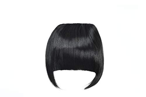 Clip in Bangs Fringe Hair Extensions with Temples Synthetic Fashion Hair-pieces Natural Black