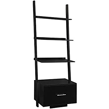Convenience Concepts Designs2Go American Heritage Ladder Bookcase with File Drawer, Black