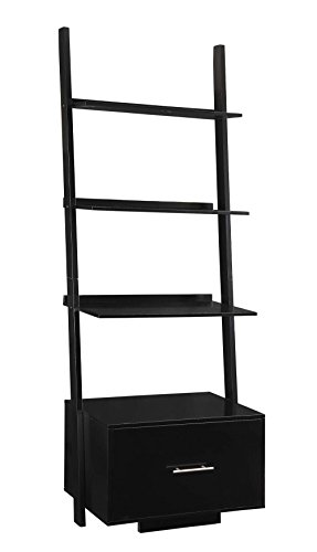 Convenience Concepts Designs2Go American Heritage Ladder Bookcase with File Drawer, Black ()