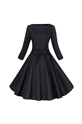 Frauen 1950er Jahre Vintage 3/4 Ärmel Swing Partykleid mit Bowknot Black XXL