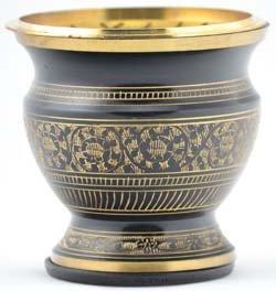 Black Engraved incense burner (IBBILC) - - incensecentral.us