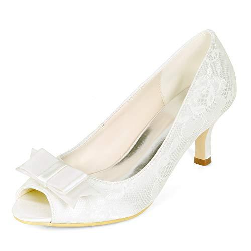 Platform L Satin Toe Funkelnde Hochzeitsschuhe Heels Ivory 43 YC Peep Absatz Frau 35 9cm High RqrRI