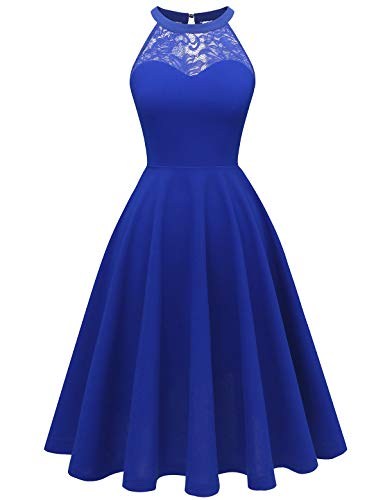 Bbonlinedress Women's Halter Lace Bridesmaid Dress Short Prom Party Cocktail Swing Dress RoyalBlue 2XL
