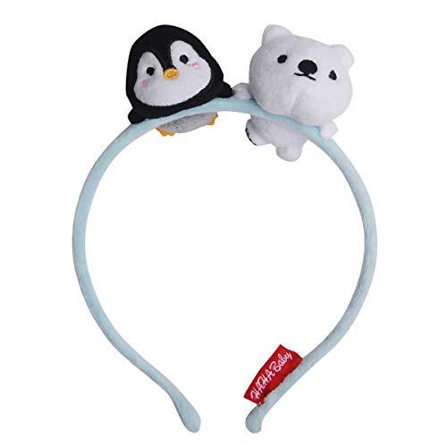 HAHA Baby Girls Kids Women Headbands Cute No Slip Infant Teens Hair Accessories Hairband with Plush Penguin and Bear for School, Sport, Yoga, Running