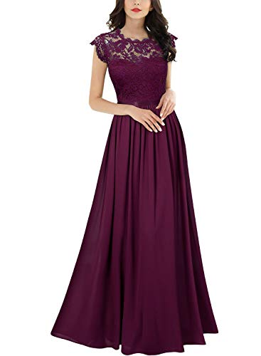 Miusol Women's Formal Floral Lace Evening Party Maxi Dress (X-Large, Magenta) ()