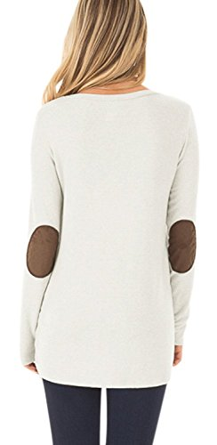 DEARCASE Women's Round Neck Tunic Soft Tops with Faux Suede and Button Blouses Tops White Small by DEARCASE (Image #1)