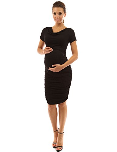 PattyBoutik Mama Cowl Neck Short Sleeve Maternity Dress (Black Small)