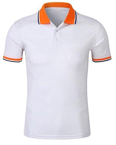 ARRIVE GUIDE Mens Splice T-shirt Neck Button Polo Short Sleeve Shirt white M