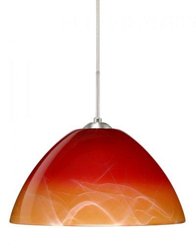 Besa Lighting 1JC-4201SL-LED-SN 1X6W GU24 Tessa LED Pendant with Solare Glass, Satin Nickel Finish