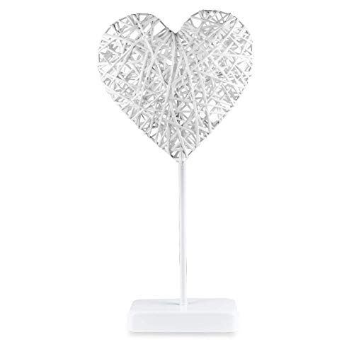 Romantic Heart Shaped Table Lamp, 10 LEDs White Bright Light, , 15.7'' Tall, Battery Operated, ON/OFF Switch, Valentine's Day and Birthday Gift, Home and bedroom - Heart Table Kids