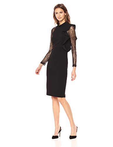 Adrianna Papell Women's Mock Neck Sheath Dress with Lace, Black, 10 from Adrianna Papell