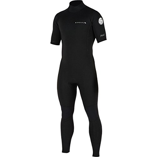 Rip Curl Aggrolite Short Sleeve Glued & Back Zip Steamer, Black/Black, Medium (Sleeve Rip Wetsuit Curl Short)