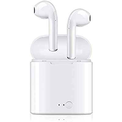 Bluetooth Headphones, Wireless Earbuds Mini Hand-Free Earphones in-Ear Noise Canceling Headsets with 2 Wireless Built-in Mic Stereo Charging Case for Most Smartphones - White