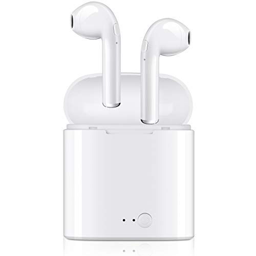 Bluetooth Headphones, Wireless Earbuds Mini Hand-Free Earphones in-Ear Noise Canceling Headsets with 2 Wireless Built-in Mic Stereo Charging Case for Most Smartphones – White
