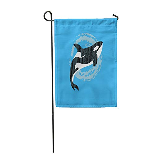 Semtomn Garden Flag 12x18 Inches Print On Two Side Polyester Blue Animal Whale Killer in Water Orca Swimming Pool of Flat for on Pastel Home Yard Farm Fade Resistant Outdoor House Decor Flag ()