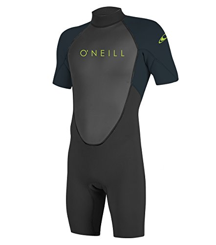 O'Neill Youth Reactor-2 2mm Back Zip Short Sleeve Spring Wetsuit, Black/Slate, 14 ()