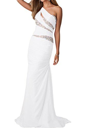 Ein Festkleid Damen Partykleid Chiffon Abendkleid Missdressy Strass Neu Lang Schulter Weiß Abendmode qFStx6p