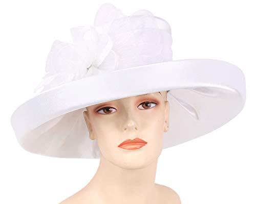 Ms. Divine Collection Women's Satin Formal Dress Church Derby Hats - HL91 (White) ()