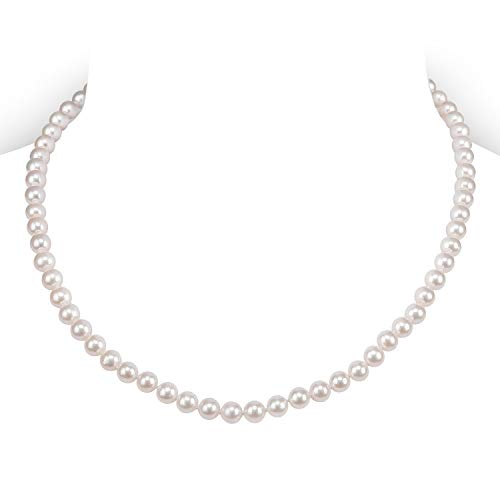 PAVOI Sterling Silver White Freshwater Cultured Pearl Necklace (16, 5mm)