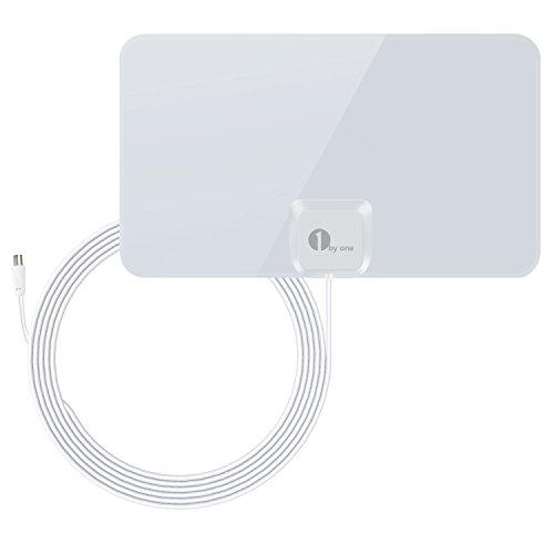 1byone Ultra Flach Zimmerantenne DVB-T [weiß glänzend]-40km-Empfang, 4Meter Kabel Hochleistungs -