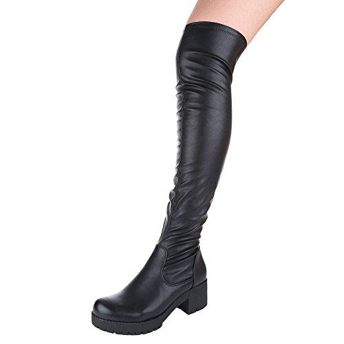 Ital negro botas Design clásicas Mujer TOBw0zq