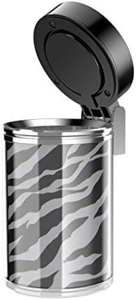 カバー多機能の灰皿黒と白のストライプが付いている車の灰皿大容量 (Color : Black)