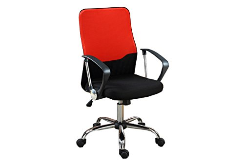 Poundex Two Tone Mesh Back Office Chair, Black/Red
