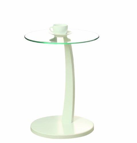 Monarch Bentwood Accent Table with Tempered Glass, White - Dining Room Round Accent Table