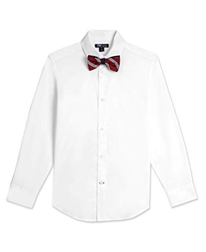 Tommy Hilfiger Boys' Big Long Sleeve Dress Shirt with Bow Tie, White, 12