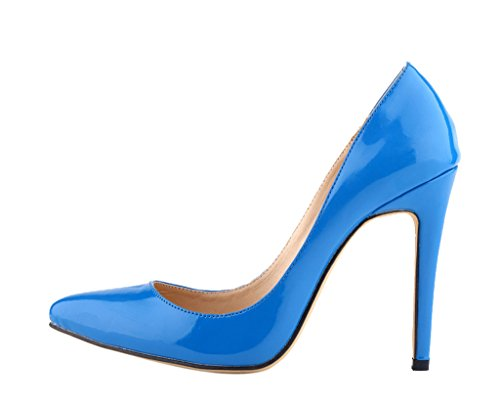chaussures profonde robe talons des chaussures mode bleu sexy La brevet sur féminine peu pointu PU hauts bout bouche à glisser Pq4Zw
